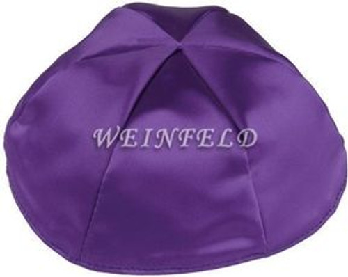 Satin Yarmulkes 6 Panels - Lined - Single Color - Purple. Best Quality Bridal Satin