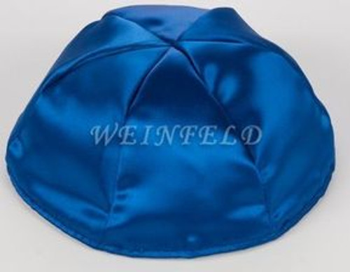 Satin Yarmulkes 6 Panels - Lined - Single Color - Royal. Best Quality Bridal Satin