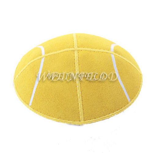 Yellow Tennis Ball with White Lines Yarmulke - Genuine Suede