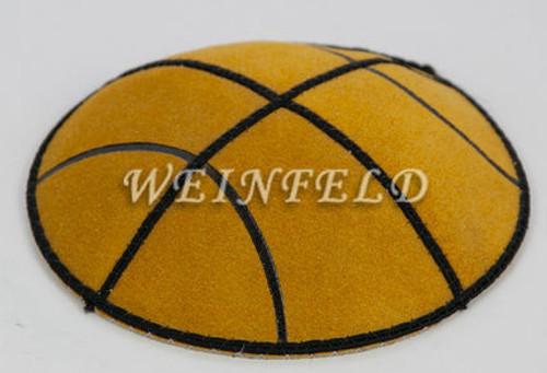 BasketBall Gold Yarmulke - Genuine Suede