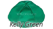 KELLY GREEN Satin Yarmulkes - With Colored Rim