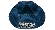 NAVY Satin Yarmulkes - With Colored Rim