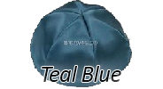 TEAL BLUE Satin Yarmulkes - With Colored Rim