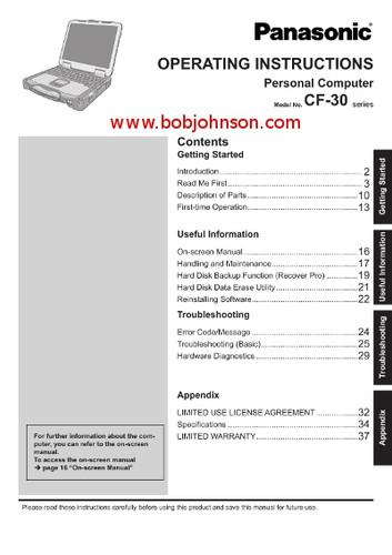 panasonic toughbook manuals rh bobjohnson com panasonic cf-30 service manual panasonic toughbook cf-30 service manual