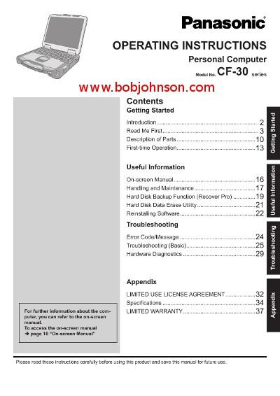 panasonic toughbook cf 30 operating instructions manual bob rh bobjohnson com panasonic operating manual dmr-es45v panasonic operation manual kx-tg4772b