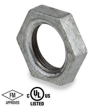 3/8 in. Galvanized Pipe Fitting 150# Malleable Iron Threaded Lock Nut, UL/FM