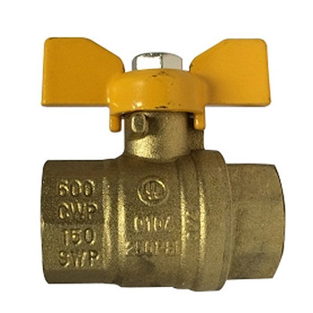 1/2 in. 600 WOG Full Port, Butterfly Handle Ball Valve, Forged Brass