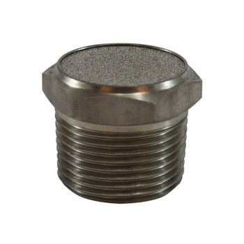 1/8 in. Stainless Steel Breather Vent, 303 Body, 316 Element, Max Operating Pressure: 150 PSI, Pneumatic Accessories