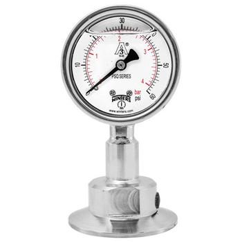 4 in. Dial, 2 in. BTM Seal, Range: 0/30 in.VAC/BAR, PSQ 3A All-Purpose Quality Sanitary Gauge, 4 in. Dial, 2 in. Tri, Bottom