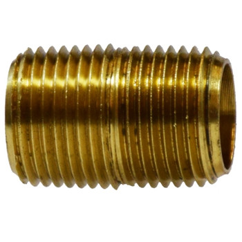 1/4 in. Close Pipe Nipple, NPTF Threads, 1200 PSI Max, Brass, Pipe Nipple