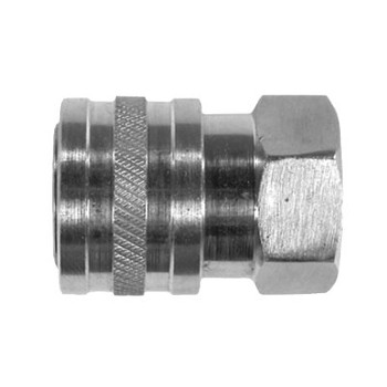 3/8 in. Female Stainless Steel Coupler, Straight Through Style, Pneumatic Quick Disconnect, 6000 PSI