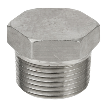 1/2 in. Threaded NPT Hex Head Plug 304/304L 3000LB Stainless Steel Pipe Fitting