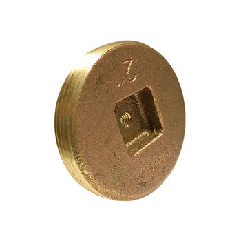 2-1/2 in. Countersunk Square Head Cleanout Plug with 1/4-20 Tap, Southern Code, Cast Brass Pipe Fitting