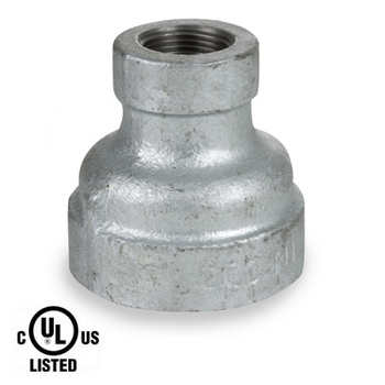 3/4 in. x 1/2 in. Galvanized Pipe Fitting 300# Malleable Iron Threaded Reducing Coupling, UL Listed