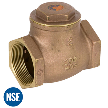 1 in. Lead-Free Cast Brass 200 WOG / 125 WSP Threaded Swing Check Valve - Series 9191L