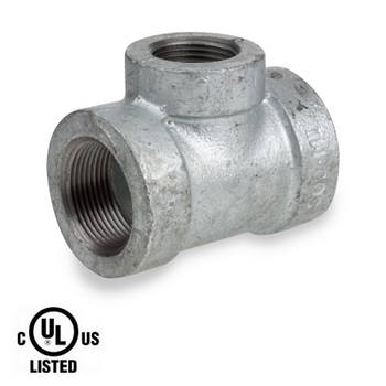 3/4 in. x 1/2 in. Galvanized Pipe Fitting 300# Malleable Iron Threaded Reducing Tee, UL Listed