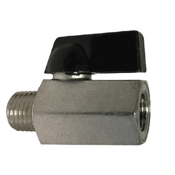 1/8 in. M x F 400 PSI, Mini Ball Valve, 316 Stainless Steel