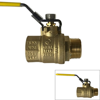 1/2 in. 600 WOG, Male x Female (M x F), Locking Handle Ball Valve, Forged Brass Body. UL