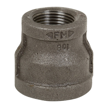 1/2 in. x 1/8 in. Black Pipe Fitting 150# Malleable Iron Threaded Reducing Coupling, UL/FM