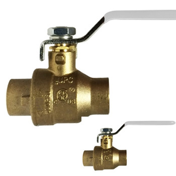 1 in. 600 PSI WOG, Lead Free Brass Ball Valve, Full Port, SWT x SWT, CSA