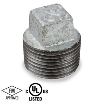 3/8 in. Galvanized Pipe Fitting 150# Malleable Iron Threaded Square Head Plug, UL/FM