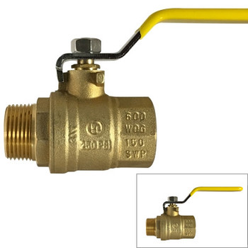 3/8 in. 600 WOG, MxF Full Port Brass Ball Valves, Forged Brass