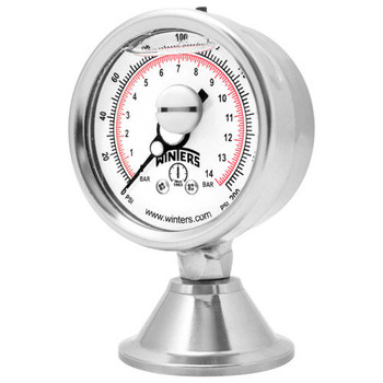3A 4 in. Dial, 1.5 in. Seal, Range: 30/0/30 PSI/BAR, PAG 3A FBD Sanitary Gauge, 4 in. Dial, 1.5 in. Tri, Bottom
