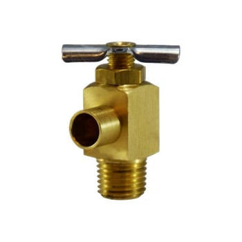 1/4 in. MIP x 3/8 in. (.38) ID Hose Bibb Needle Valve, Brass, Drain Cock, Industry No. 6660