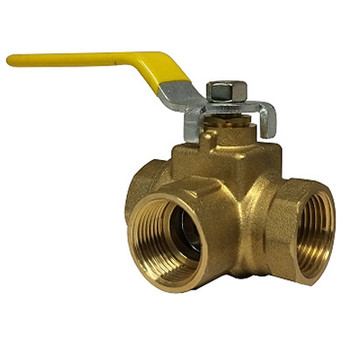 3/4 in. 3 Way Full Port Ball Valve, FIP, Brass, 600 WOG, Side Outlet