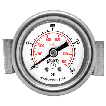PEU ECONOMY PANEL MOUNTED GAUGE with U-CLAMP, 2 in. Dial, 0/30 in. VAC/KPA 1/8 in. NPT Back