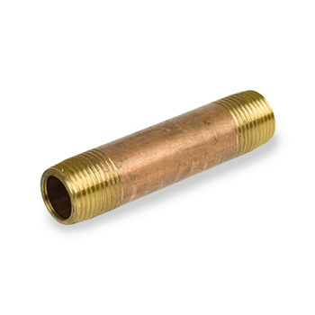 3/8 in. x 2-1/2 in. Brass Pipe Nipple, NPT Threads, Lead Free, Schedule 40 Pipe Nipples & Fittings