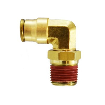 1/8 in. Tube OD x 1/8 in. Male NPTF, Push-In Swivel Male Elbow, Brass Push-to-Connect Fitting
