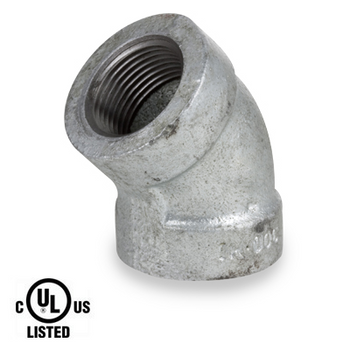 1 in. Galvanized Pipe Fitting 300# Malleable Iron 45 Degree Elbow, UL Listed