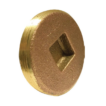6 in. Countersunk Square Head Cleanout Plug, Southern Code, Cast Brass Pipe Fitting