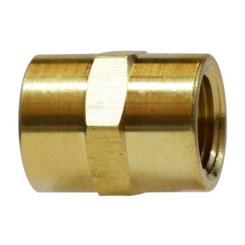 1/8 in. Coupling, FIP x FIP, NPTF Threads, Light Pattern, Up to 1200 PSI, Brass, Pipe Fitting