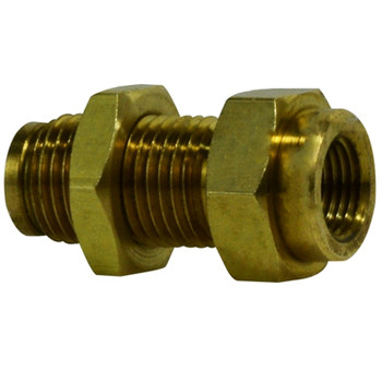 1/4 in. Tube OD x 1/4 in. Female NPTF, Push-In Female Bulkhead Union, Brass Push-to-Connect Fitting