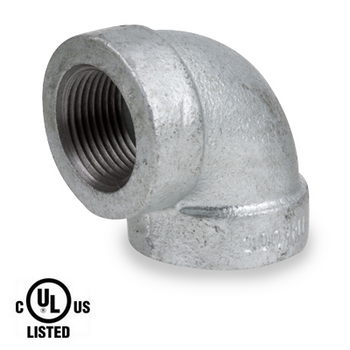 1/2 in. Galvanized Pipe Fitting 300# Malleable Iron 90 Degree Elbow, UL Listed