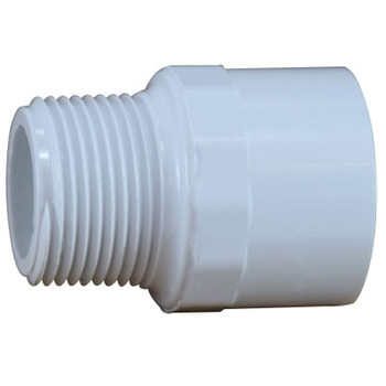 1-1/2 in. PVC Slip x MIP Adapter, PVC Schedule 40 Pipe Fitting, NSF 61 Certified