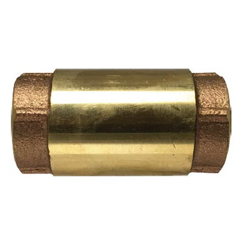 1-1/4 in. In-Line Check Valve, 200 WOG/125 WSP, Forged Brass Body, Stainless Steel Spring Loaded Bronze Poppet