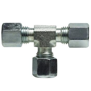 6mm Union Tee, Steel Fitting, DIN 2353 Metric, Hydraulic Adapter