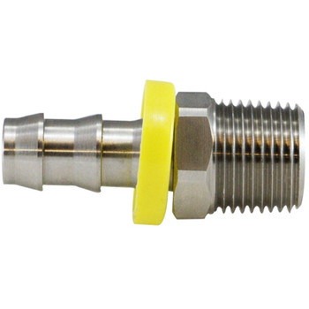 3/8 in. x 1/4 in. Male Adapters, Push-On Hose Barb x MIP Connection, NPT Threads, 150 PSI Max Pressure Rating, 316 Stainless Steel Fitting