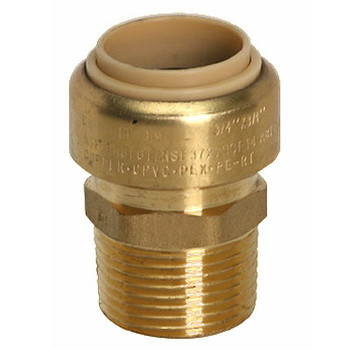 3/4 in. x 1/2 in. Male Adapter (Push x MNPT) QuickBite (TM) Push-to-Connect/Press On Fitting, Lead Free Brass (Disconnect Tool Included)