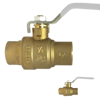 1 in. 600 PSI WOG, Lead Free Brass Ball Valve, Full Port, SWT x SWT, AB-1953, Approvals: FM, cUPC, NSF, ANSI 61, ANSI 372