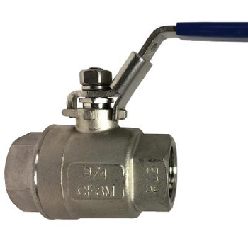 3/4 in. Threaded NPT Stainless Steel Valve, 1000 PSI, 2-Piece Full Bore Ball Valve, with Locking Handles, 316 Stainless Steel