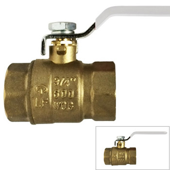 1 in. 600 PSI WOG, Lead Free Brass Ball Valve, Full Port, FIP x FIP