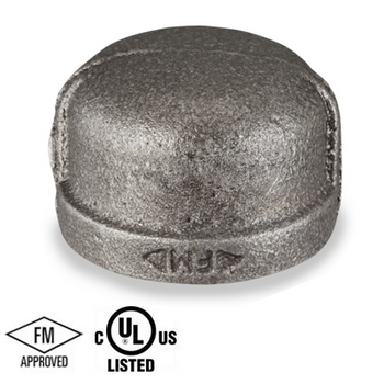 1/2 in. Black Pipe Fitting 150# Malleable Iron Threaded Cap, UL/FM