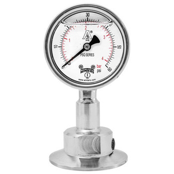 2.5 in. Dial, 0.75 in. BTM Seal, Range: 0-100 PSI/BAR, PSQ 3A All-Purpose Quality Sanitary Gauge, 2.5 in. Dial, 0.75 in. Tri, Bottom