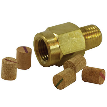 1/4 in. Pressure Snubber, Porosity: 30 um 9000 PSI, Brass Body, Includes: 5 different porosity elements per package