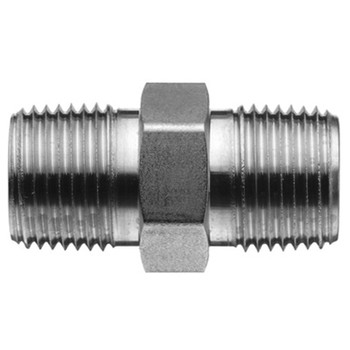 1 in. x 1 in. Threaded NPT Hex Nipple 4500 PSI 316 Stainless Steel High Pressure Fittings (4027-R-HEX)