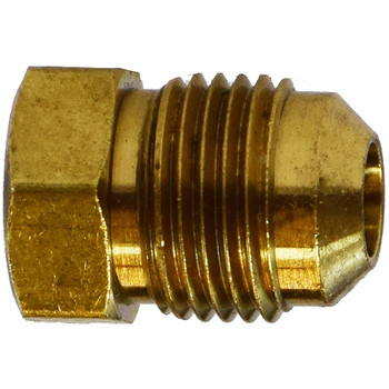 1/4 in. UNF Threaded Flare Plug, SAE 45 Degree Flare Brass Fitting